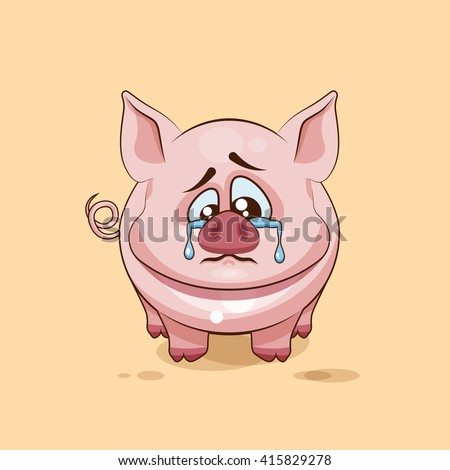 Vector Stock Illustration isolated Emoji character cartoon sad and frustrated Pig crying, tears sticker emoticon for site, infographics, video, animation, websites, e-mails, newsletters, report, comic - stock vector