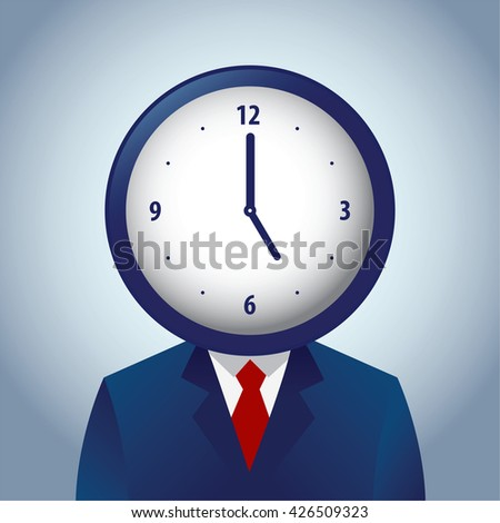 Vector stock of businessman with a clock as his head