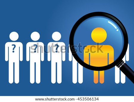 Vector stock of searching for unique people with a magnifying glass - stock vector