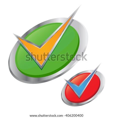 Vector stock of silver check mark in a circle 3D icon - stock vector