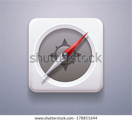 Vector stock Realistic Icon of Navigation compass. Plastic button 3d for sign, design element, web site