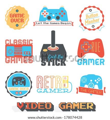 Vector Stock: Retro Video Game Shop Labels - stock vector