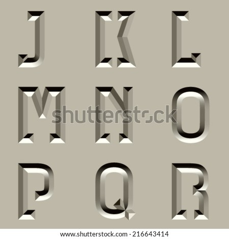 vector stone carved alphabet font - part 2 - stock vector