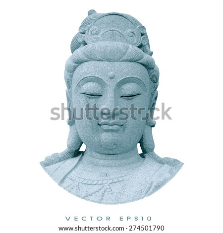 vector - Stone carving of Guanyin. - stock vector