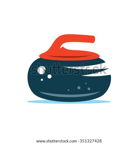 Vector Stone Curling Cartoon Illustration. Granite Rock with handle Isolated on a White Background - stock vector