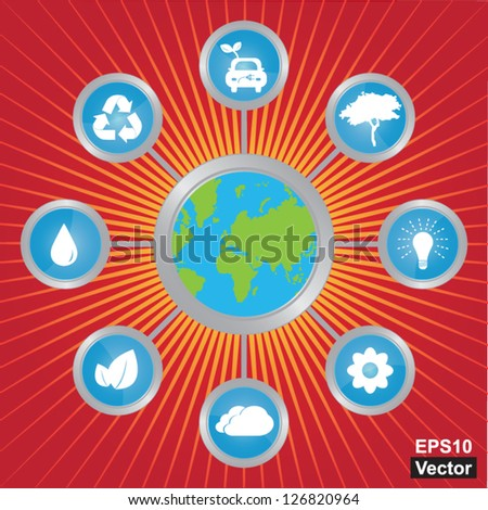 Vector : Stop Global Warming and Save The Earth Concept Present By The Earth Connected To Group of Conservation Icon in Red Shiny Background - stock vector