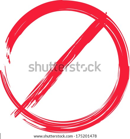Vector stop sign in brush style on white background isolated - stock vector
