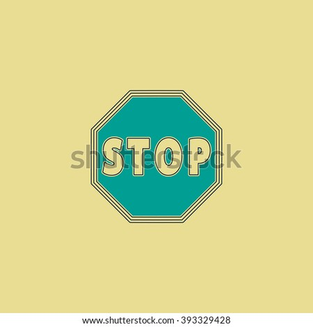 Vector Stop stroke sign Icon Flat line icon on yellow background. Vector pictogram with stroke - stock vector