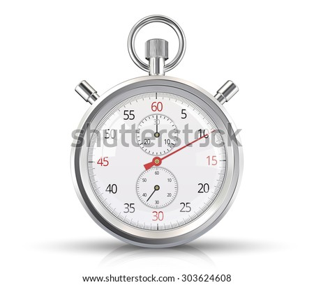 Vector Stopwatch. Classic stopwatch Vector EPS 10. Glass reflections, ground shadow and refection. - stock vector