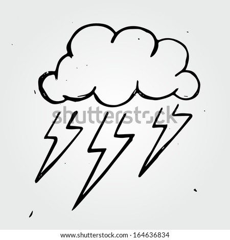 Vector storm cloud, hand drawn - stock vector