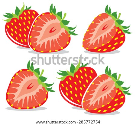 Vector strawberries collection - stock vector
