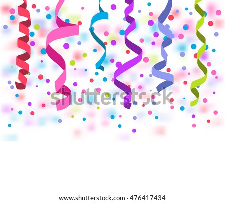 Vector streamers and confetti isolated on white background. Streamers and curved swirl paper ribbon. Festive streamers celebration background. Streamers and confetti of party popper.