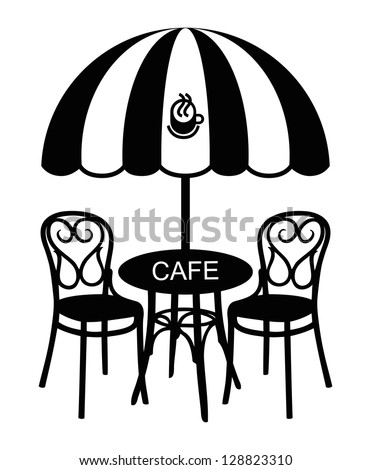 Vector Cafe Table Collection Silhouette Bar Stock Vector