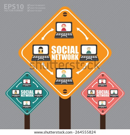 Vector : Street Sign With Social Network Diagram or Icon - stock vector