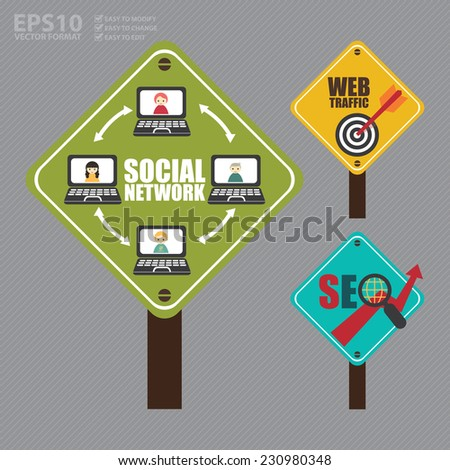 Vector : Street Sign With Social Network Diagram, Web Traffic and Dart Hitting a Target Bullseye and SEO With Rising Arrow - stock vector