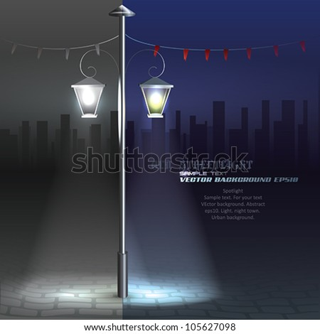 Vector Streetlight at Night. Background - stock vector