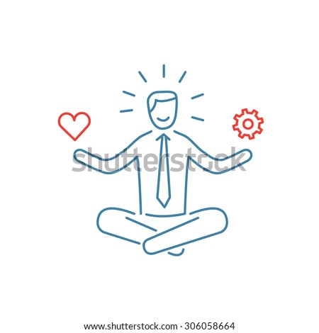 Vector stress management skills icon with meditating businessman balancing work and personal life | modern flat design soft skills linear illustration and infographic red and blue on white background - stock vector