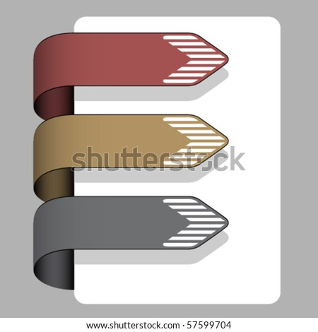 vector striped arrow ribbon signs