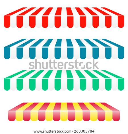 Vector striped awnings - stock vector