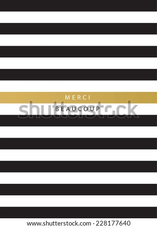 Vector striped greeting card with Thank you lettering in French - stock vector