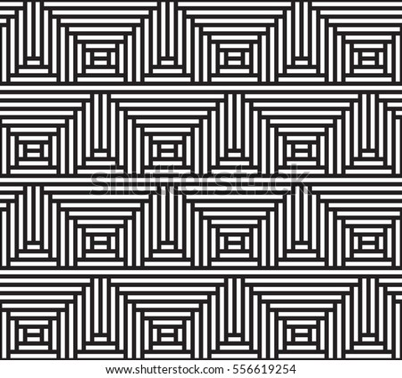 Vector striped op art background. Abstract geometric lines pattern. Deformed squarish geometry. Torsion illusion