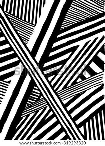 Vector striped pattern. Grunge black-white background. - stock vector