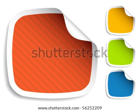 vector striped stickers - stock vector