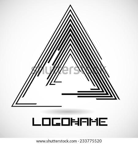 Vector Striped Triangle Logo Template . - stock vector