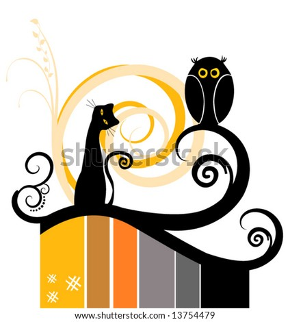 Vector Stripes Design with Cat and Owl Silhouette