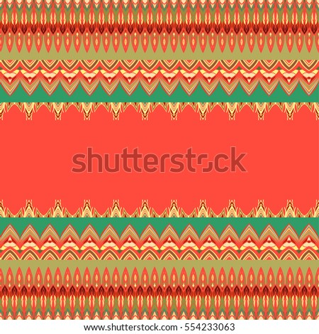 Vector stripes ethnic pattern. Tribal borders. Vector abstract background.