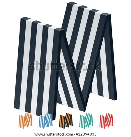 Vector Stripped 3D Alphabet Optional Different Colors Letter M