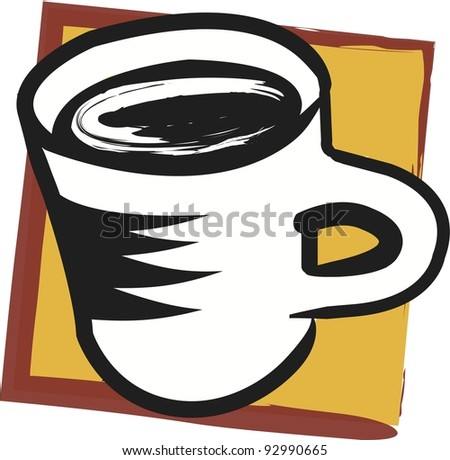 Vector Strong Coffee Illustration:  cup of coffee pops out of background. - stock vector
