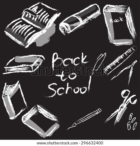 vector style chalk on a blackboard.Back to School - stock vector