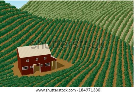 Vector-style illustration of rolling farm fields with a barn in the foreground. - stock vector