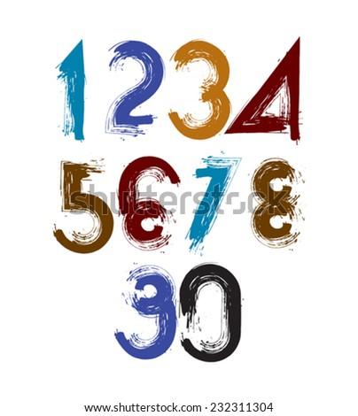 Vector stylish brush digits, handwritten numerals, sans serif numbers set on white background. - stock vector