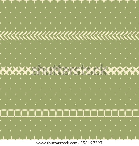 Vector stylish cute and elegant seamless pattern in retro style - polka dots on pastel green background with strips of embroidered stitches.