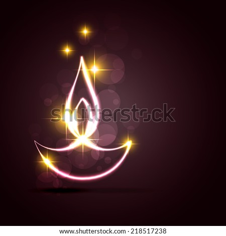 vector stylish diwali diya on a background - stock vector