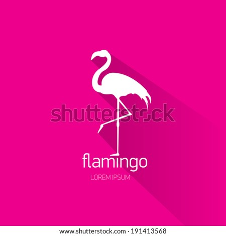 vector stylish flat design flamingo Icon with long shadow on stylish pink background. vector silhouette of flamingo  - stock vector