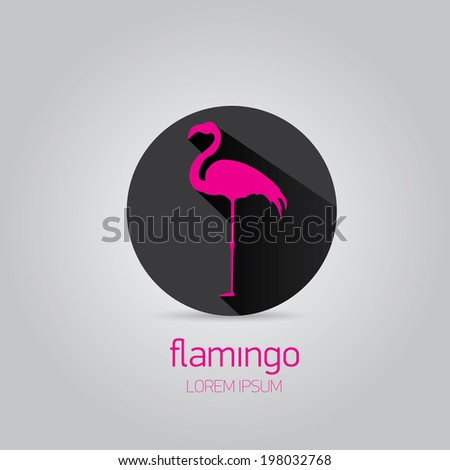 vector stylish flat design pink flamingo Icon with long shadow on stylish black background. vector silhouette of flamingo