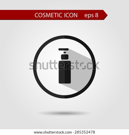 Vector stylish flat icon of bottle with long shadow effect of beauty and cosmetics. - stock vector