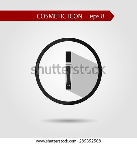 Vector stylish flat icon of lip gloss with long shadow effect of beauty and cosmetics. - stock vector