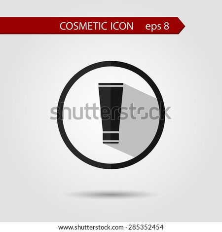 Vector stylish flat icon of tube of cream with long shadow effect of beauty and cosmetics. - stock vector