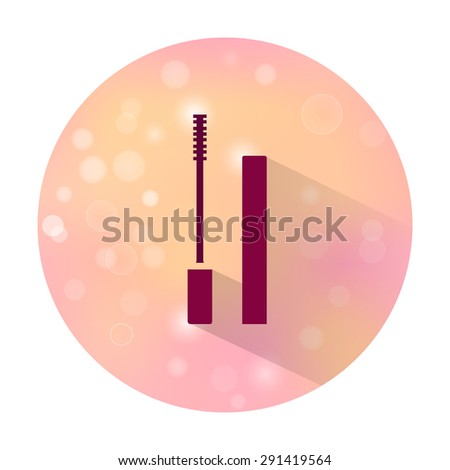 Vector stylish flat icon with long shadow effect of beauty and cosmetic on blurred background. Mascara. - stock vector