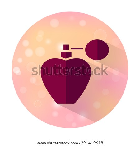 Vector stylish flat icon with long shadow effect of beauty and cosmetic on blurred background. Perfume bottle. - stock vector