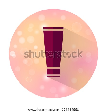 Vector stylish flat icon with long shadow effect of beauty and cosmetic on blurred background. Tube of cream. - stock vector