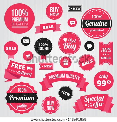 Vector Stylish Labels Badges Stickers and Ribbons - stock vector