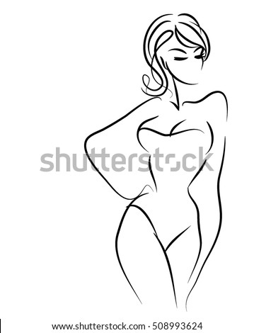 VECTOR  stylish  original hand-drawn graphic with beautiful young   girl model for design. Fashion, style, youth, fitness, sports, beauty. Graphic, sketch, drawing. Sexy body.