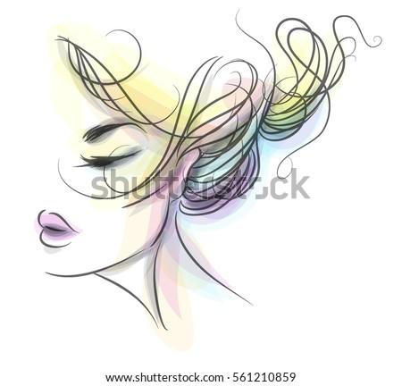 vector stylish original handdrawn graphics portrait stock