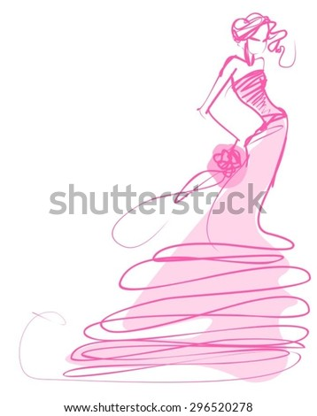 VECTOR  stylish  original hand-drawn graphics with beautiful young attractive girl model for design. Fashion, style,  beauty, advertising. Graphic, sketch drawing. Sexy woman . groom, bride, fiancee  - stock vector