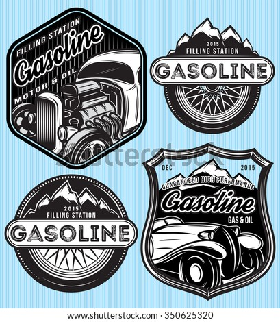 vector stylish set of badges for advertising gasoline - stock vector